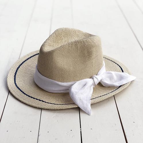 Sunshine Hat w/ White Linen Sash