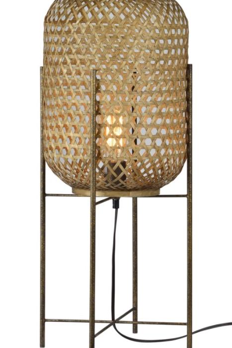 """Rattan & Metal Floor Lamp 29""""H"""