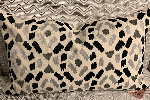 Embroidered Ikat Pillow 12x20