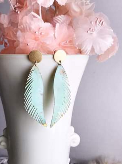 Verdigris Feather Earrings
