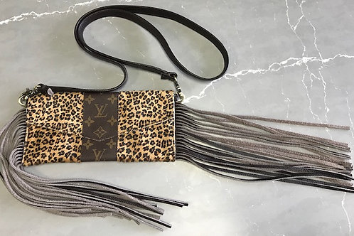 Orange Leopard LV Fringe Bag