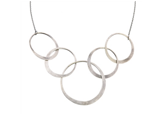 Silver 5 Ring Necklace