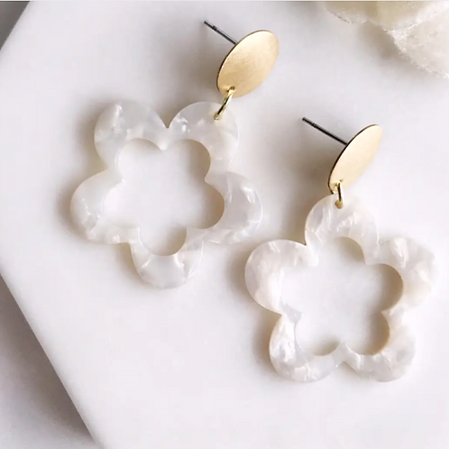 Frost Star Floral Earrings