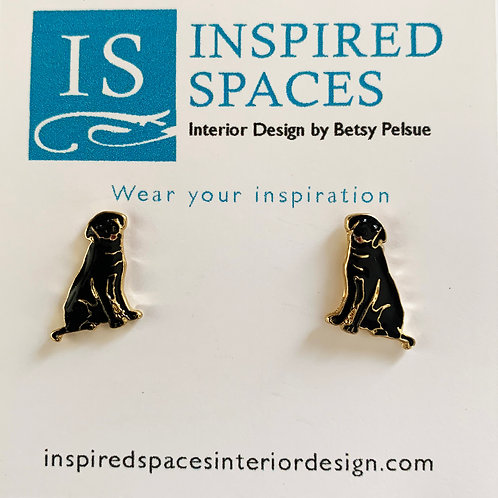 Black Lab Stud Earrings