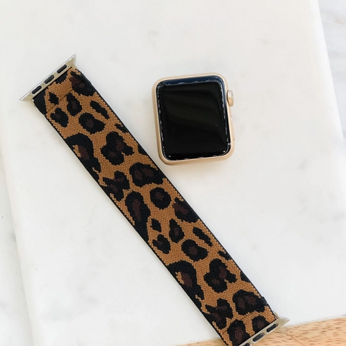 Brown Leopard Print Stretch Smart Watch Band