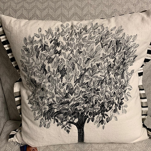 Embroidered Tree Pillow 20x20
