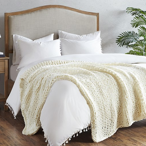Chunky Double Knit Throw - Ivory