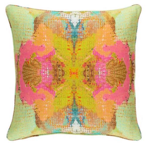 """Green/Pink Linen Pillow - 22"""""""