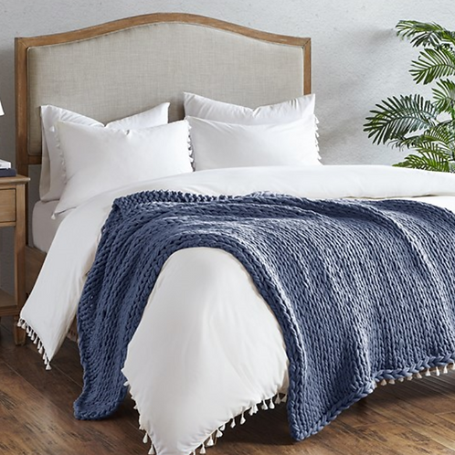 Chunky Double Knit Throw - Indigo