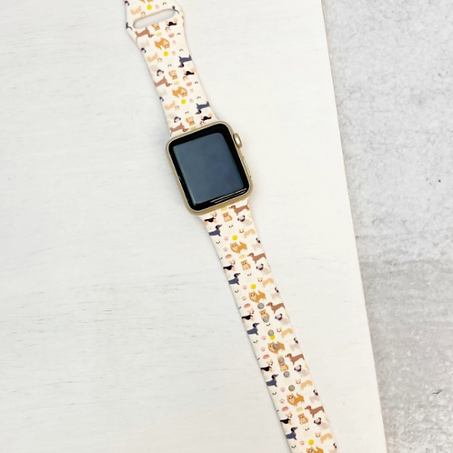 Dog Print Silicone Smart Watch Band