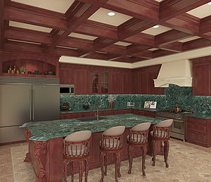 Interior 3D Rendering of Midterrenean kitchen