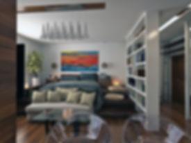 The interior design of a small apartment