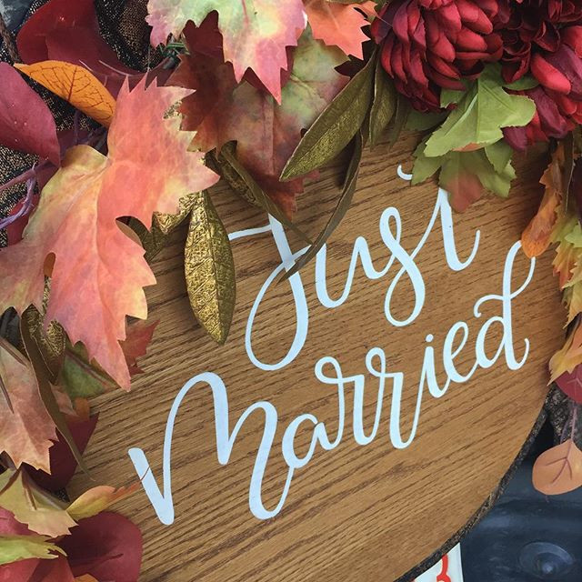 Fall Just Married Limo Sign