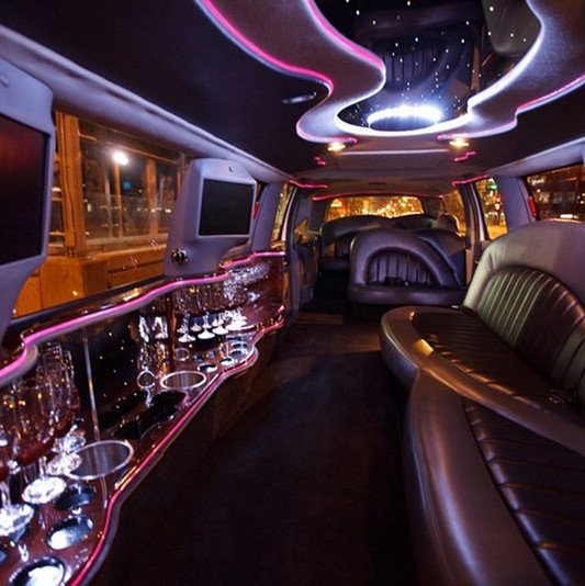 Interior of Edmonton limo company Black Gold
