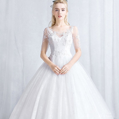 2019 new bride married a word shoulder long sleeve