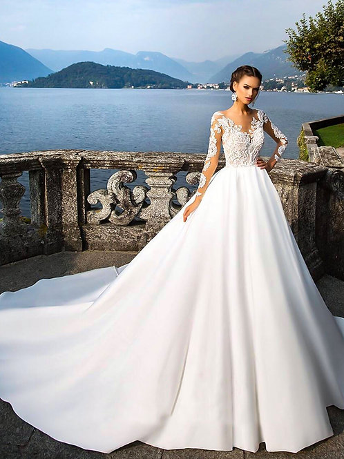 2019 new deep V long sleeve long drag bride wedding dress