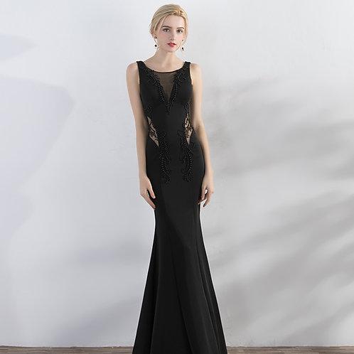 Banquet evening dress long sexy shoulder V-neck fishtail dress black