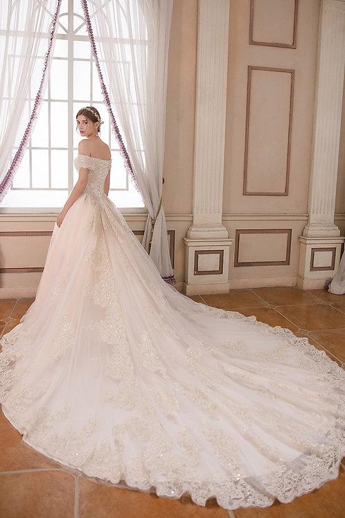 One shoulder 2019 new bride luxury trailing forest dress