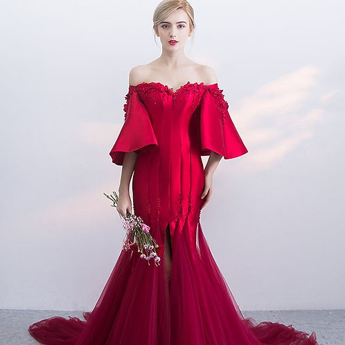 One shoulder, the bride, the long fishtail, the evening dress