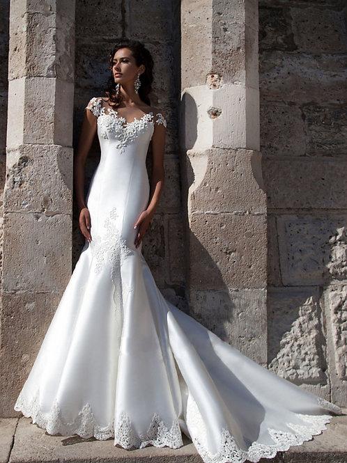 copy of 2019 new wedding dress long tail shoulder wedding dress Korean satin lac