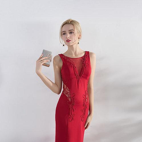 2019 new red bride wedding evening dress