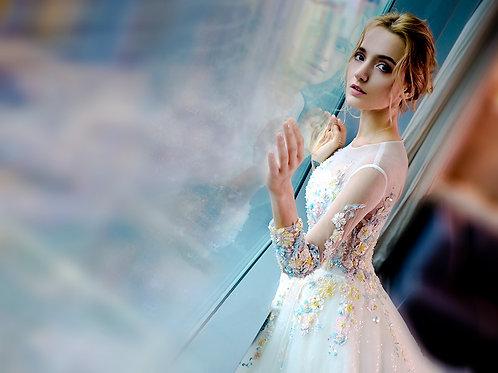 One-shoulder wedding dress 2019 new bride wedding tail dream princess