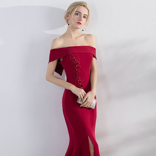 One shoulder, bride, long section, 2019, new modern sexy fishtail, wedding party