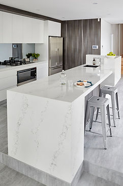 Quartz counter top installed with waterfall