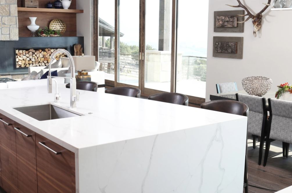 Bedrosians Sequel Quartz Slab in Kitchen