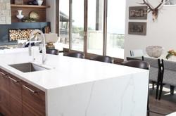 Bedrosians Sequel Quartz Slab in Kitchen