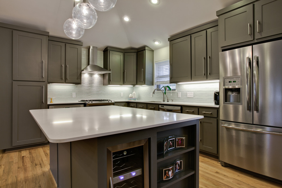 Light-gray-cabinets-kitchen-contemporary-with-shaker-cabinets-wood-flooring-recessed-lighting-4