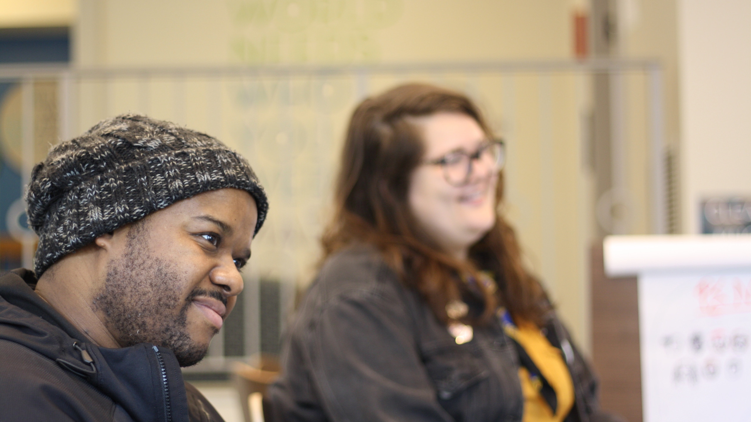 Mark Kendal and Spen Norris smiling during our workshop with Citizen Advocacy.