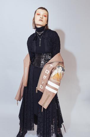 Turtleneck Dress: Norma Kamali  Lace Dress: Prada Jacket: Miharayasuhiro  Belt: Cat O'Brien  Boots: ASH Necklace: DKNY
