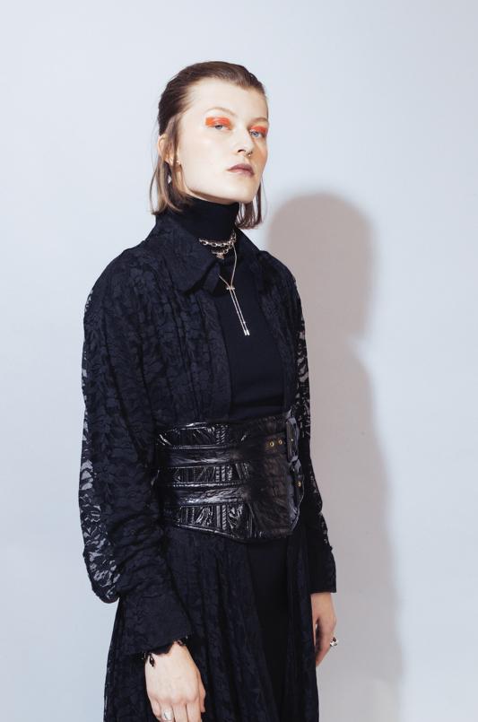 Turtleneck Dress: Norma Kamali  Lace Dress: Prada Belt: Cat O'Brien  Boots: ASH Necklace: DKNY