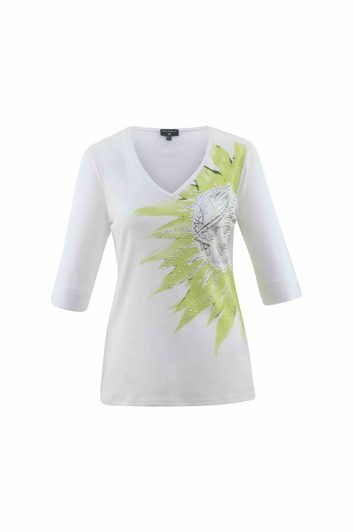 White classic 3/4 sleeve V neck T with print detail
