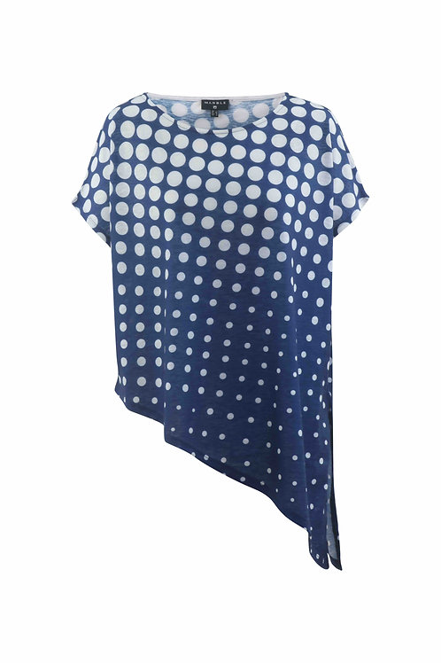 Blue & White dot loose T with under camisole