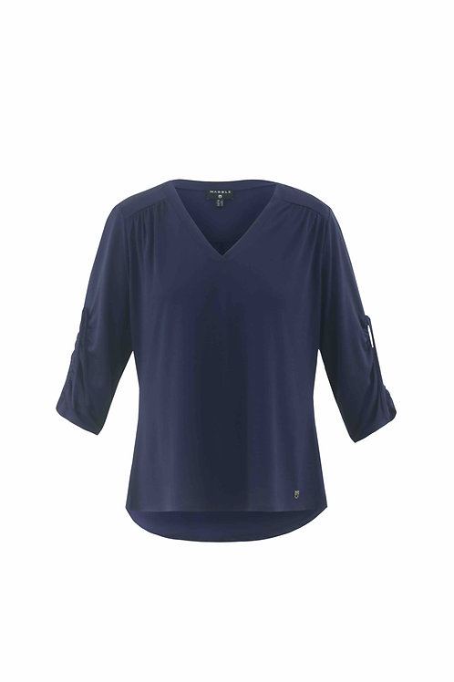 Navy lightweight 3/4 sleeve T with ruche sleeve detail