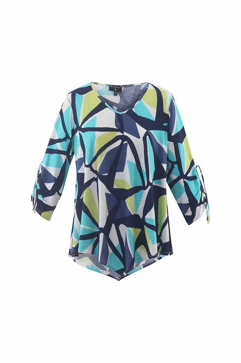 Blue/lime white asymmetric print tunic top