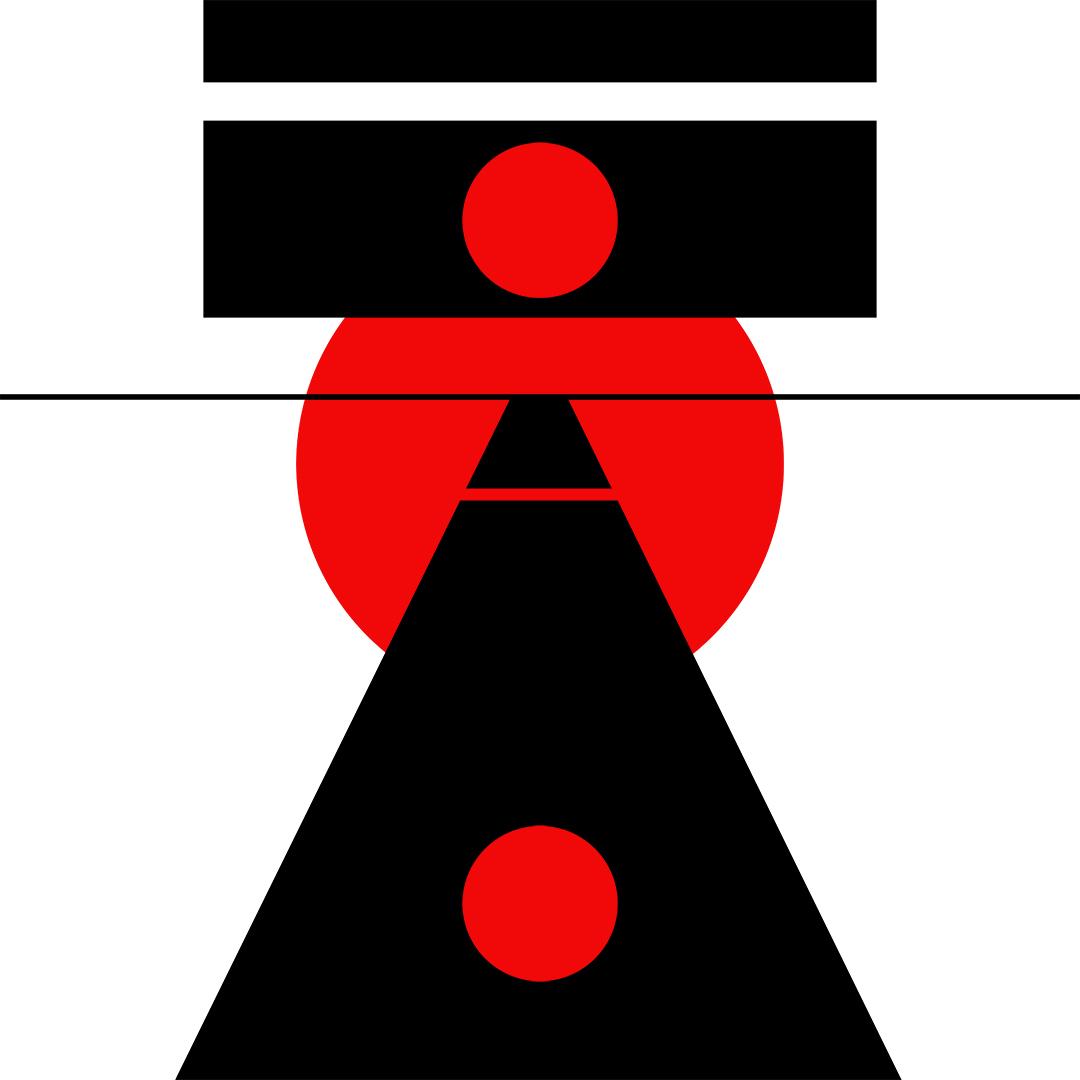 "Black/Red/White - 40""x40"" (102x102 cm)"