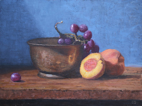 'Cut peaches and grapes'