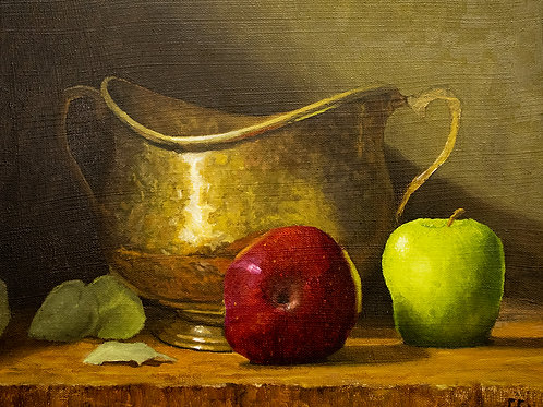 'Brass pot with Apples'