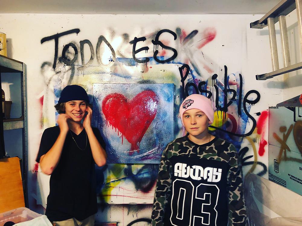 Jordan and Dallas exploring graffiti
