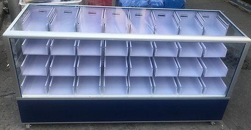 Vitrina Cajonera Papelería Ferretería Metálica 32 Cajones Base Formaica Aluminio