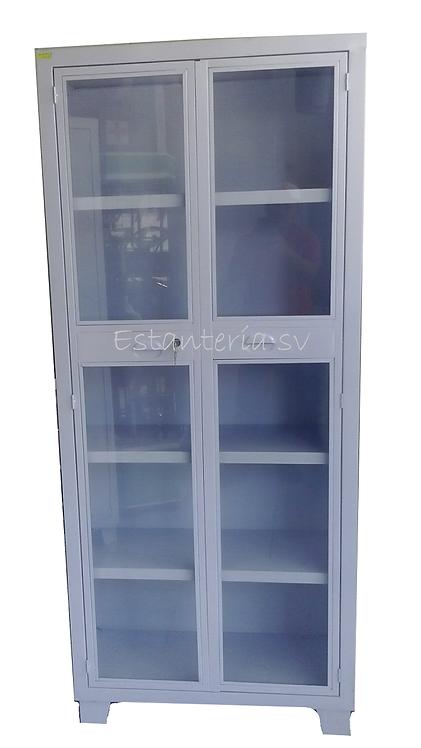 Gabinete Universal Blanco Puertas Con Cristal 4 Anaqueles
