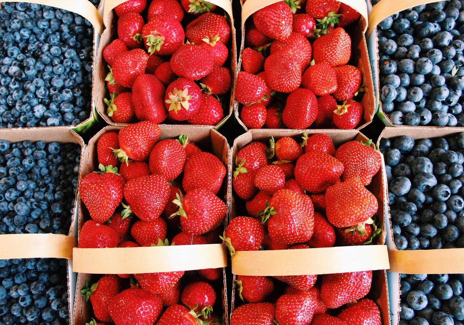 Strawberries and blueberries from Montreal's Le Marché Jean-Talon