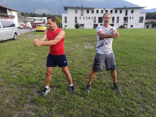 Fitnesstraining beim Partnerverein Mieming
