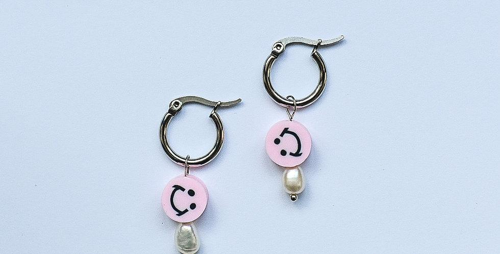 Pink smiley - oorbellen