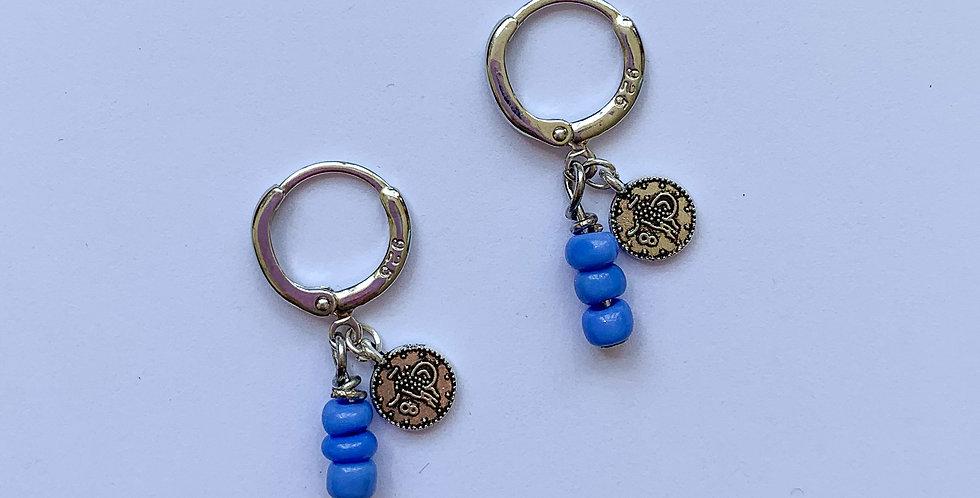 Blue coin - oorbellen