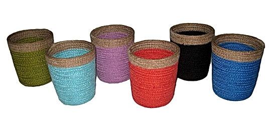 Jute pencil holders bright