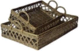 Grey wash french rattan trays
